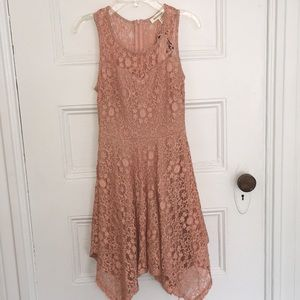 NEW with tags- Salmon Colored Lace Mini Dress
